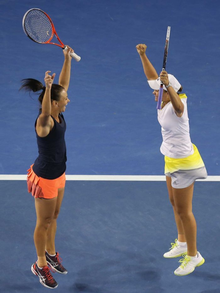 Casey Dellacqua and Ashleigh Barty. Photo: Getty Images: Scott Barbour