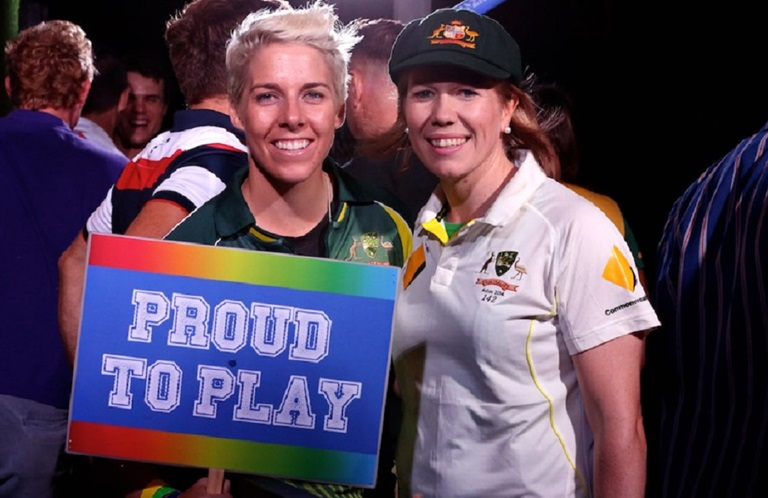 Elyse Villani (L) and Alex Blackwell at Sydney's Mardi Gras. Source: Cricket Australia