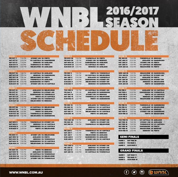List of WNBL matches for the 2016/2017 season