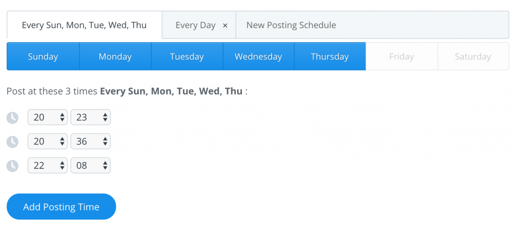 Instructional image: Chose what days to activate your best time to tweet schedule